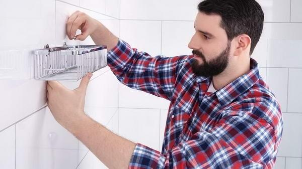 Poliță autoadezivă mare pentru duș tesa® Aluxx, aluminiu cromat.