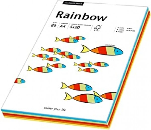 Hartie colorata, mix Pastel, A4, 80 g/mp, Rainbow