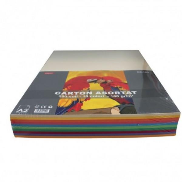 Carton color, 160 g/mp, A3, 10 culori, 250 coli, Daco