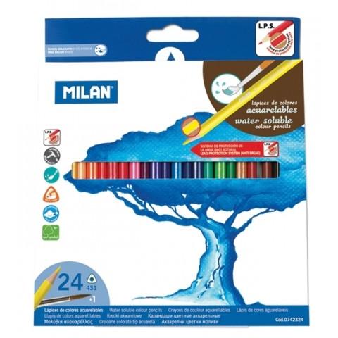 Creion acuarela, 24 culori, Milan