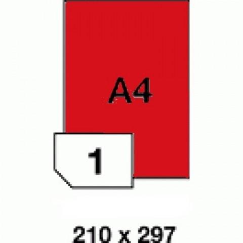 Etichete autoadezive colorate, rosu fluorescent, 1 buc./A4