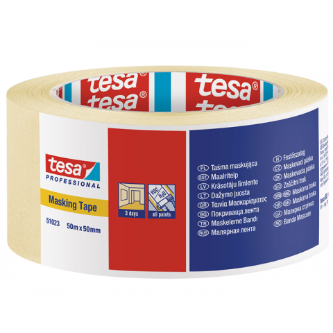 Banda mascare, 50 mmx50 m,  transparenta, TESA 51023