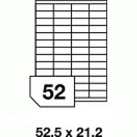 Etichete autoadezive multifuncţionale, 52 buc./A4, dimensiune 52.5x21.2 mm