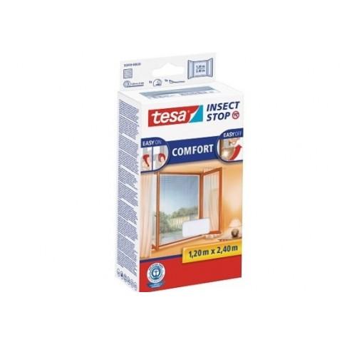 """Plasă anti insecte cu """"arici"""", Comfort pentru ferestre, albă, Tesa, 1.20 m x 2.40 m"""