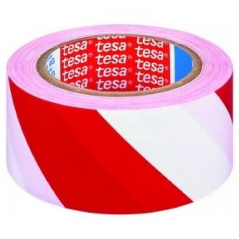 Banda adeziva de marcare, 50mmx33m, PVC, alb/rosu