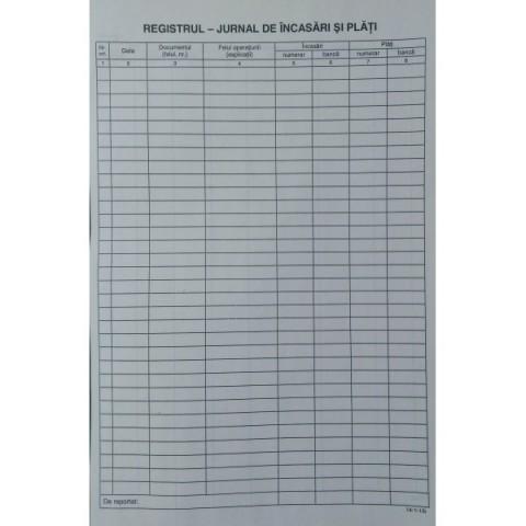 Registru jurnal, incasari si plati, A4