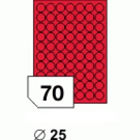 Etichete autocolante, rotunde, 25 mm, rosu mat