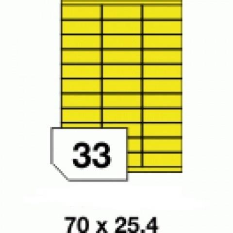 Etichete autoadezive colorate, galben fluorescent, 33 buc./A4