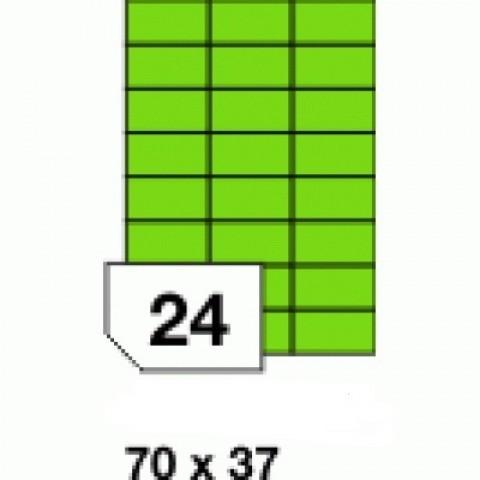 Etichete autoadezive colorate, verde fluorescent, 24 buc./A4