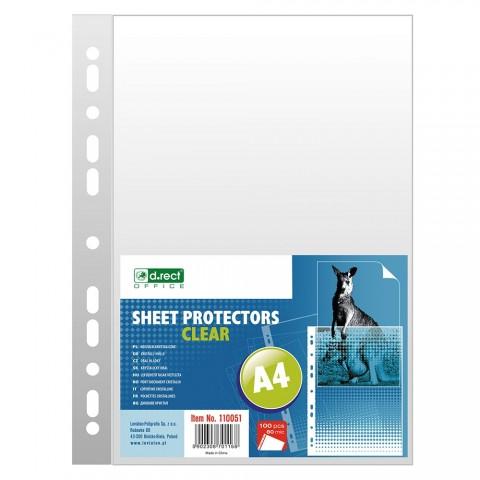 Folie protectie A4, 80 microni, 100/set, D.rect