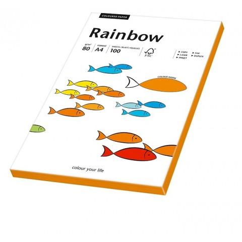 Hartie colorata, portocaliu neon, Rainbow, A4, 80 g/mp