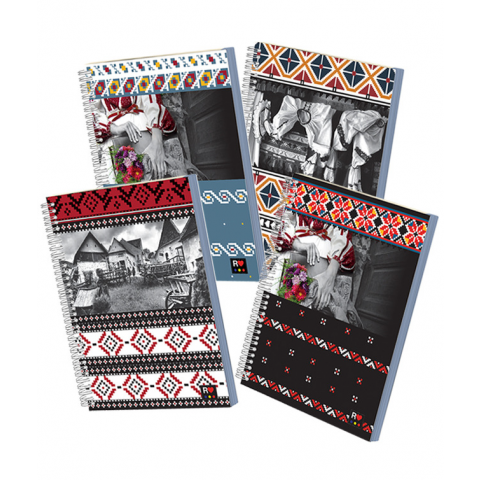 Caiet spira A4 120 file, coperta cartonata plastifiata, tipar special, hartie ivory, colectia ETHNO