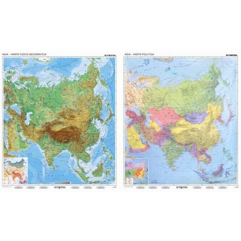Asia harta fizico - geografică / harta administrativă