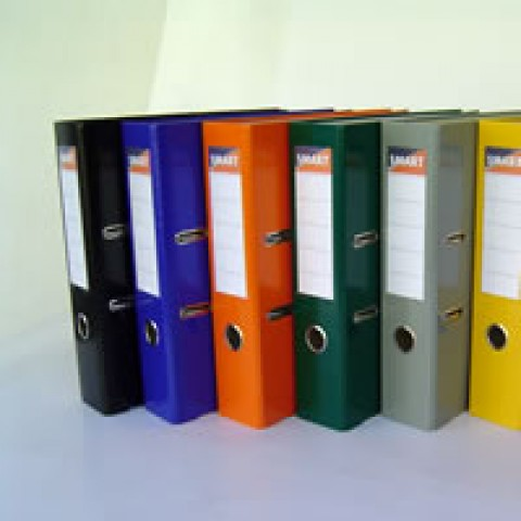 Biblioraft plastifiat cu cotor de 5 cm, A4, colturi metalice