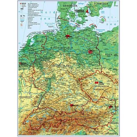 Germania harta fizico - geografică+ harta contur