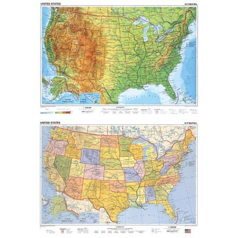 SUA harta fizico - geografică / harta administrativă
