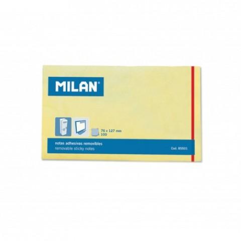 Bloc notes adeziv, 127x75 mm, galben pal, Milan