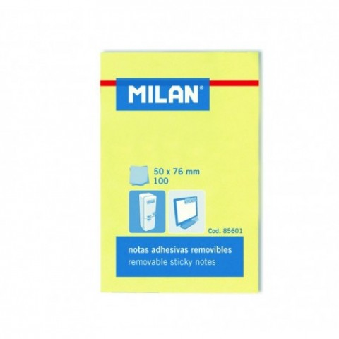 Bloc notes adeziv, 50x76 mm, galben pal, Milan
