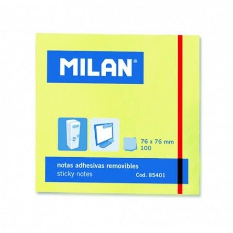 Bloc notes adeziv, 76x76 mm, galben pal, Milan