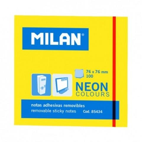 Bloc notes adeziv, 76x76 mm, neon galben, Milan