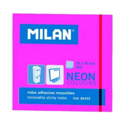 Bloc notes adeziv, 76x76 mm, neon roz, Milan