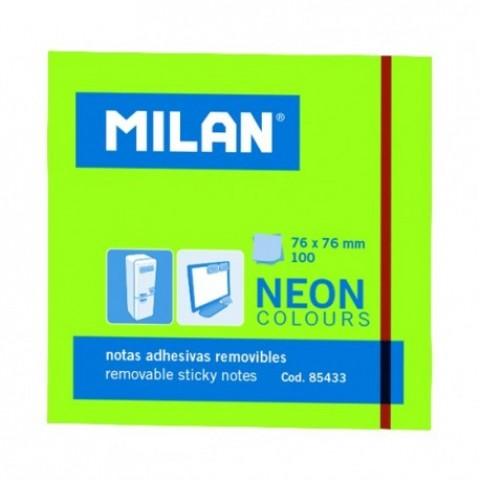 Bloc notes adeziv, 76x76 mm, neon verde, Milan