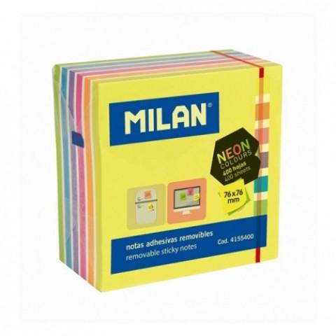 Bloc notes adeziv, cub 76x76 mm, 7 culori neon, Milan