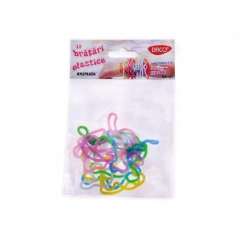 Bratari elastice, 12 bucati/set, animale, Daco