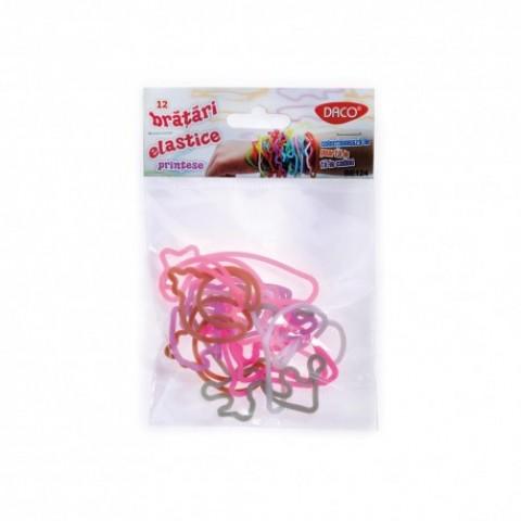 Bratari elastice, 12 bucati/set, printese, Daco
