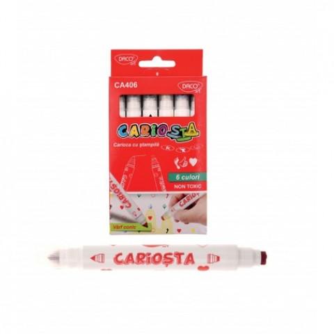 Carioca 6 culori, cu stampila, Cariosta, Daco