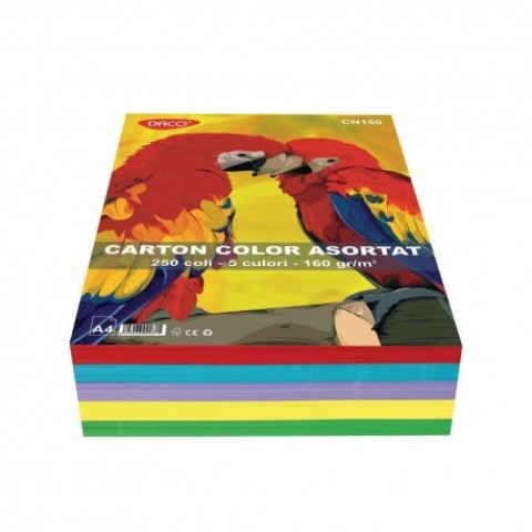 Carton color, A4, 160 gr/mp, 5 culori, 250 coli, Daco