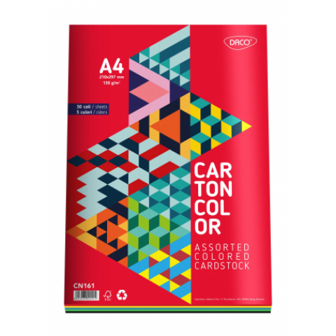 Carton color, A4, 160 gr/mp, 5 culori, 30 coli, Daco
