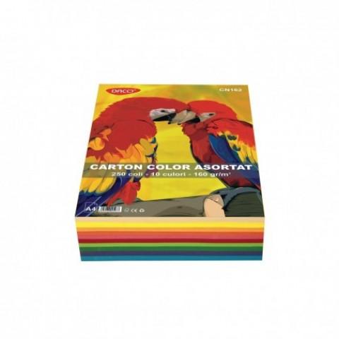 Carton color, A4, 160 gr/mp, 10culori, 250 coli, Daco