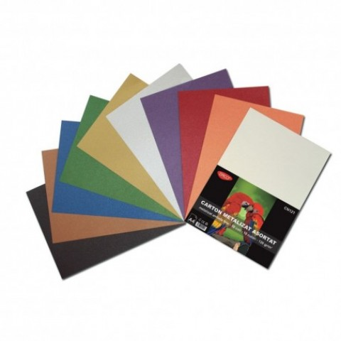 Carton metalizat, A4, 120 gr/mp, 10 culori, 50 coli, Daco