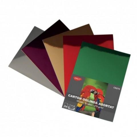 Carton A4, oglinda, 270 gr/mp, 5 culori, 10 coli, Daco