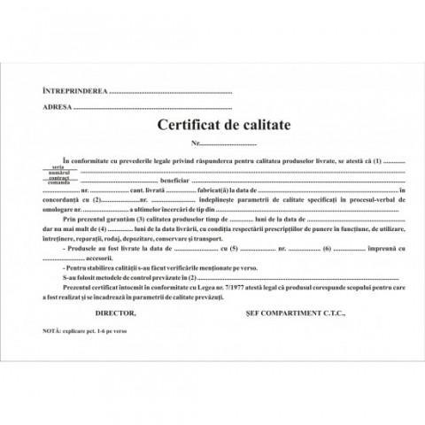 Certificat de calitate, A5