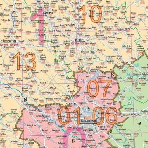 Romania – harta cu coduri postale