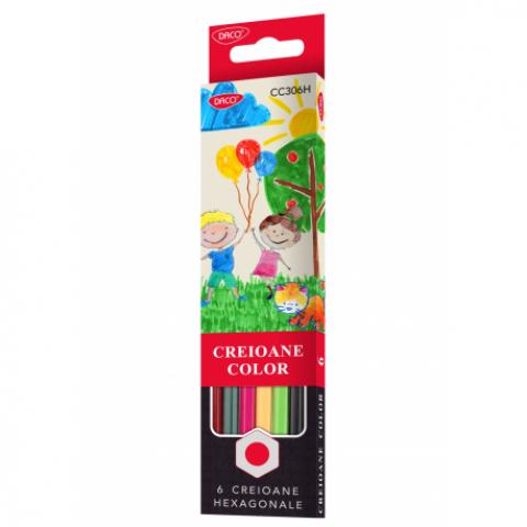 Creion color, 6 culori, Daco