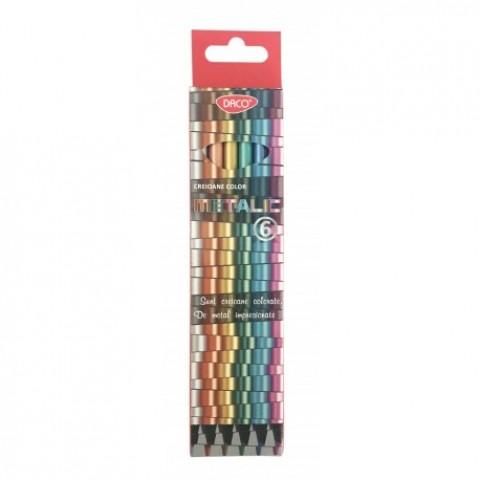 Creion color, 6 culori, metalic, Daco