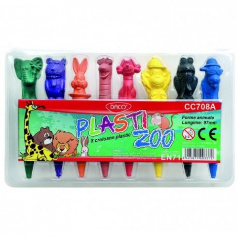Creion color, 8 culori, plastic, Zoo, Daco