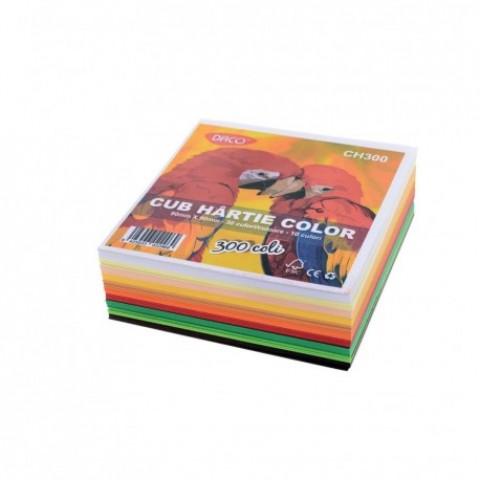 Cub hartie, color 9x9cm,  300 coli, 10 culori, Daco