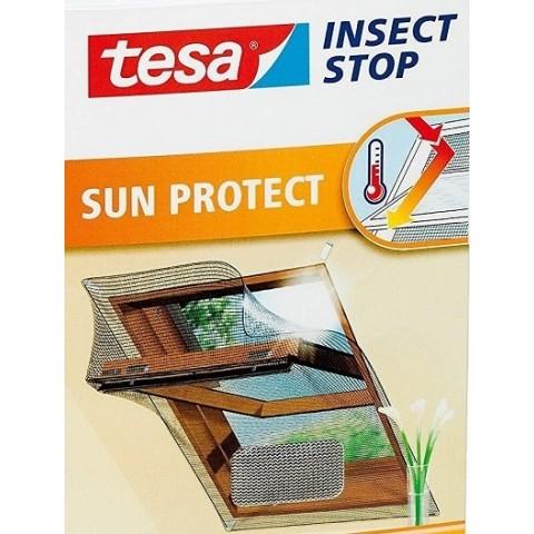 """Plasă anti insecte cu """"arici"""", Comfort pentru ferestre mansardă, neagră, 1.30 m x 1.50 m, Tesa"""