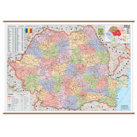 Romania, harta administrativa, 160 x 120 cm