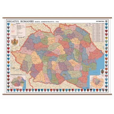 România – harta interbelică (1938)