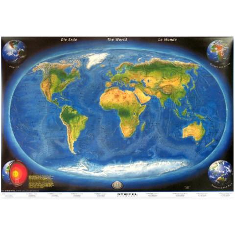 Harta panoramică a lumii ( cu relief oceanic )