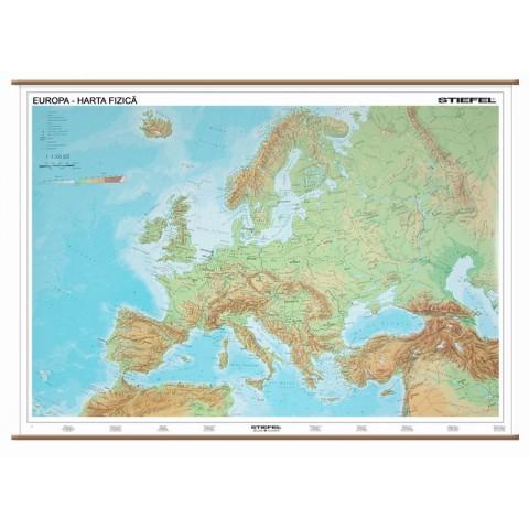 Europa - harta fizică + harta contur