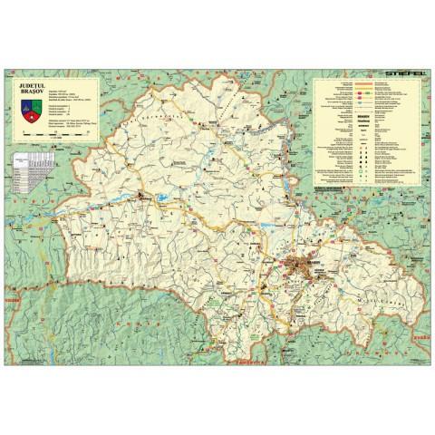 Harta judeţului BRAŞOV, cu sipci de plastic
