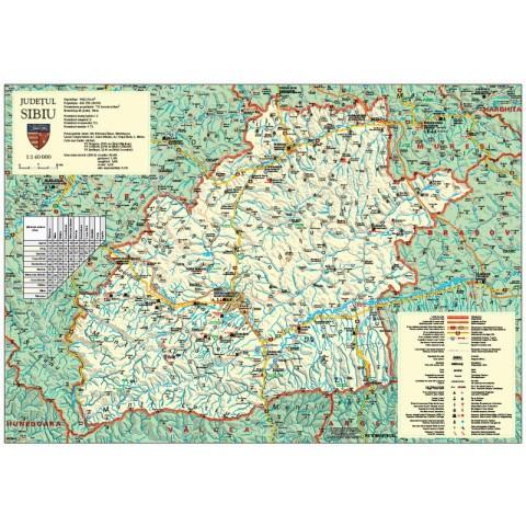 Harta judeţului Sibiu, cu sipci de plastic