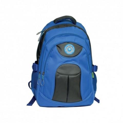 Ghiozdan adolescenti si scolari, albastru si negru, 46 cm, Ecada