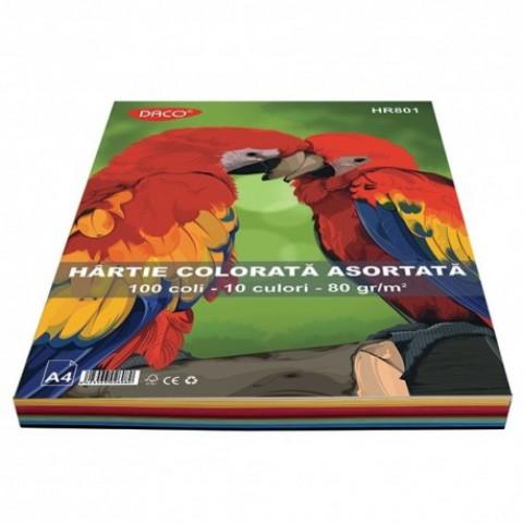 Hartie colorata, A4, 80g/mp, 10 culori, 100 coli, Daco
